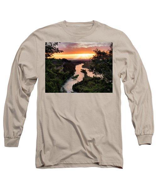 Snake River Sunset Long Sleeve T-Shirt by Leland D Howard