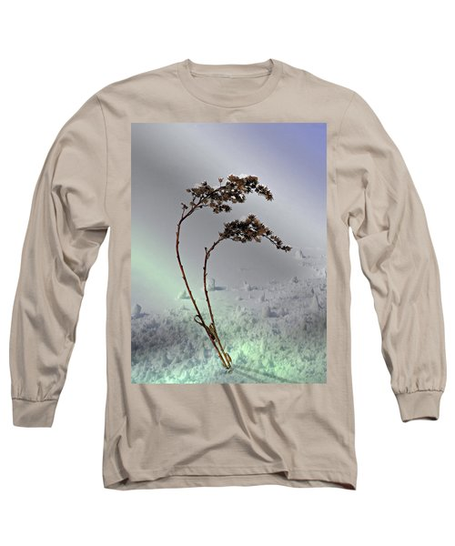 Long Sleeve T-Shirt featuring the photograph Snow Covered Weeds by Judy Johnson