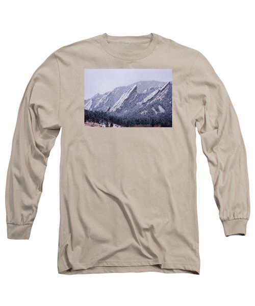 Snow Dusted Flatirons Boulder Colorado Long Sleeve T-Shirt