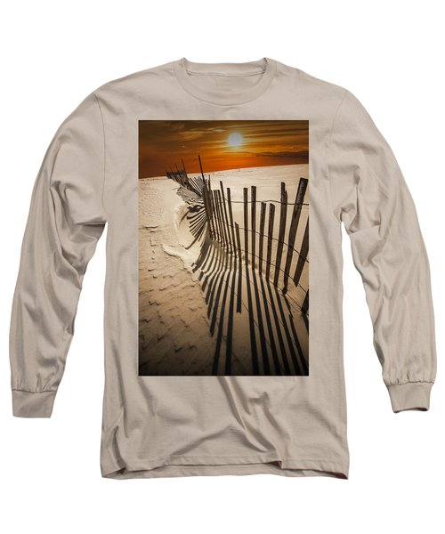 Snow Fence At Sunset Long Sleeve T-Shirt