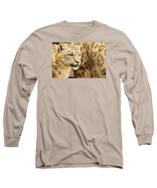 Long Sleeve T-Shirt featuring the photograph Snow Leopard  by Gary Bridger