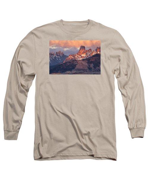 Snow On Chimney Rock Long Sleeve T-Shirt