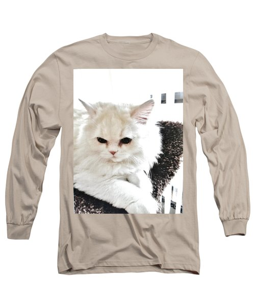 Long Sleeve T-Shirt featuring the photograph Snowball Is 92 Year Old Widows Cat by Marsha Heiken