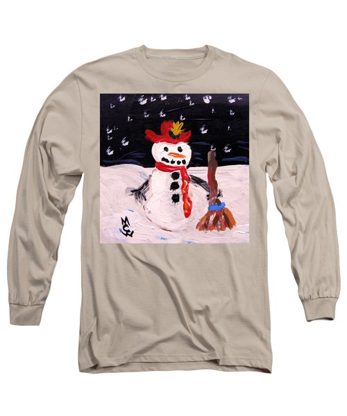 Snowman Under The Stars Long Sleeve T-Shirt by Mary Carol Williams