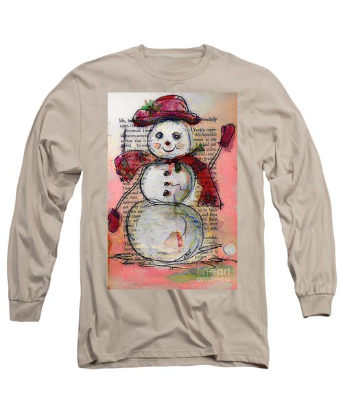 Snowman With Red Hat And Mistletoe Long Sleeve T-Shirt