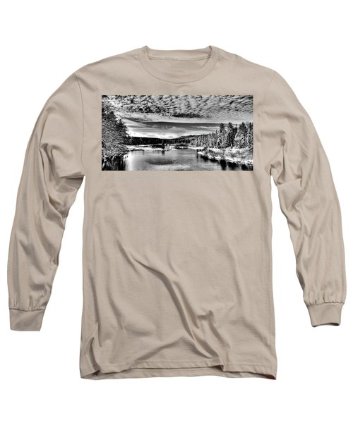 Snowy Day At The Green Bridge Long Sleeve T-Shirt by David Patterson