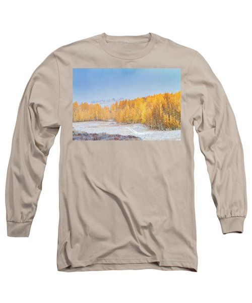 Snowy Fall Morning In Colorado Mountains Long Sleeve T-Shirt