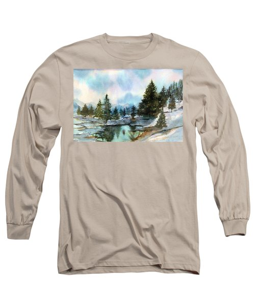 Snowy Lake Reflections Long Sleeve T-Shirt