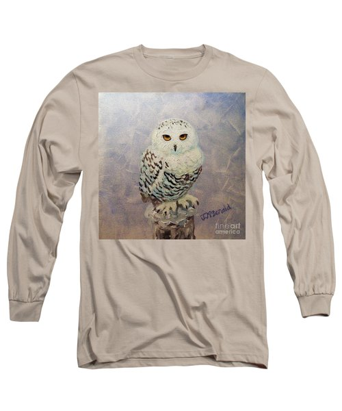 Snowy Owl Long Sleeve T-Shirt by Janet McDonald
