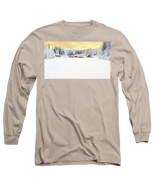 Snowy Ranch At Sunset Long Sleeve T-Shirt