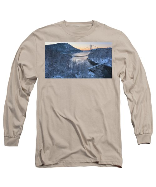 Snowy Winter Dawn At Three Bridges Long Sleeve T-Shirt