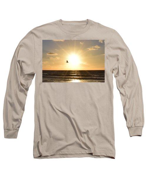 Soaring Seagull Sunset Over Imperial Beach Long Sleeve T-Shirt by Karen J Shine