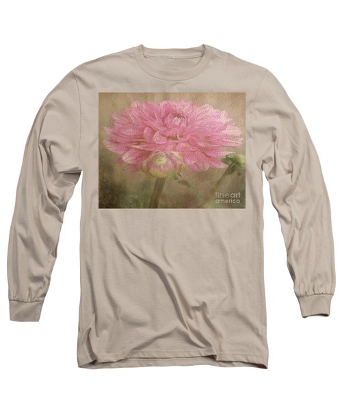 Soft Graceful Pink Painted Dahlia Long Sleeve T-Shirt