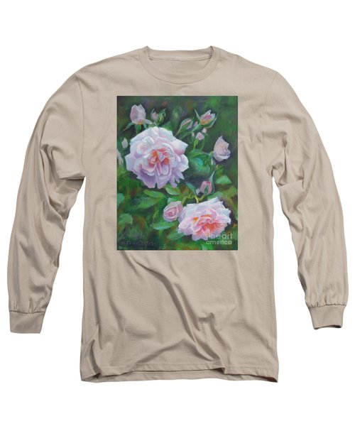 Long Sleeve T-Shirt featuring the painting Softly Pink Roses by Karen Kennedy Chatham