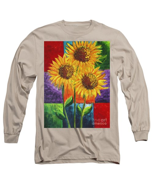Long Sleeve T-Shirt featuring the painting Sonflowers I by Holly Carmichael