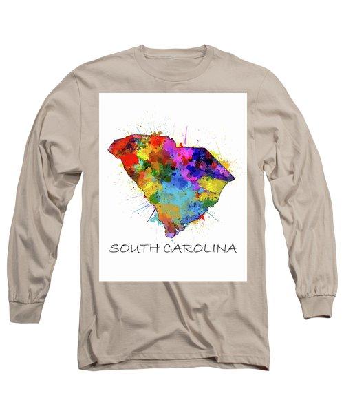 South Carolina Map Color Splatter Long Sleeve T-Shirt