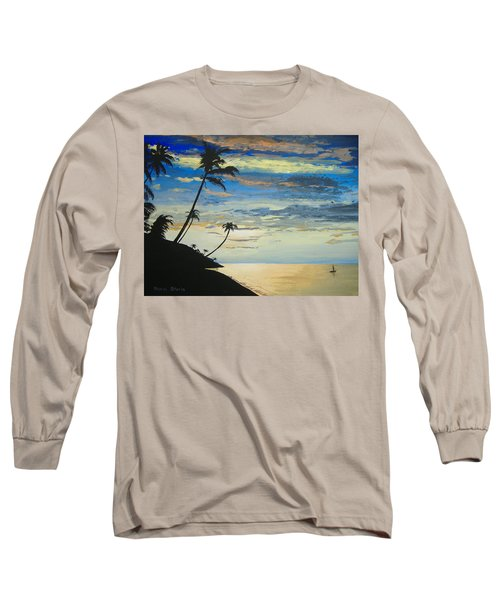 Long Sleeve T-Shirt featuring the painting South Sea Sunset by Norm Starks