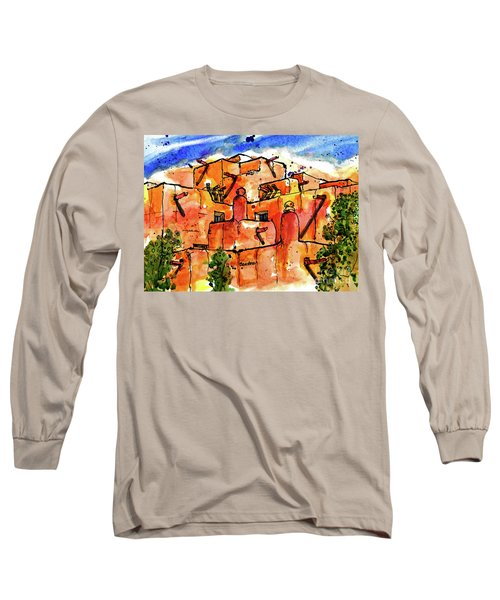 Long Sleeve T-Shirt featuring the painting Southwestern Architecture by Terry Banderas
