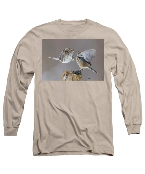 Long Sleeve T-Shirt featuring the photograph Sparrows Fight by Mircea Costina Photography