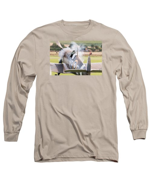 Spitfire Engine Start Smoke Rings Long Sleeve T-Shirt by Gary Eason