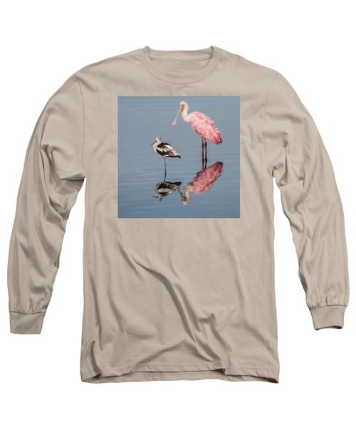 Spoonbill, American Avocet, And Reflection Long Sleeve T-Shirt by Dorothy Cunningham