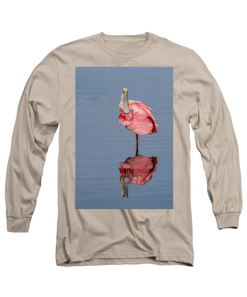 Spoonbill And Reflection Long Sleeve T-Shirt by Dorothy Cunningham