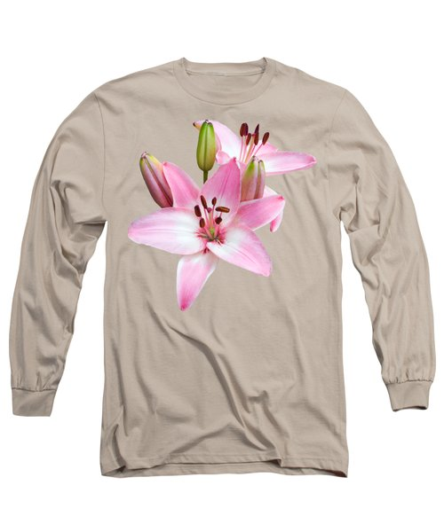 Spray Of Pink Lilies Long Sleeve T-Shirt by Jane McIlroy