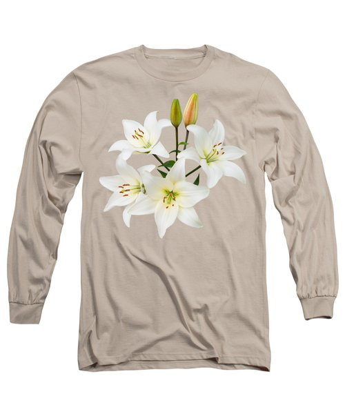Spray Of White Lilies Long Sleeve T-Shirt by Jane McIlroy
