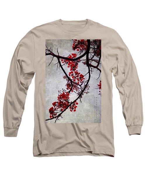 Spring Bloosom In Maldives. Flamboyant Tree II. Japanese Style Long Sleeve T-Shirt by Jenny Rainbow