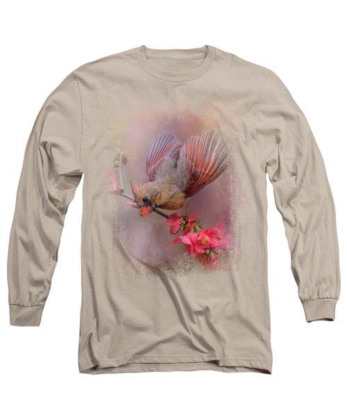 Spring Cardinal 2 Long Sleeve T-Shirt by Jai Johnson