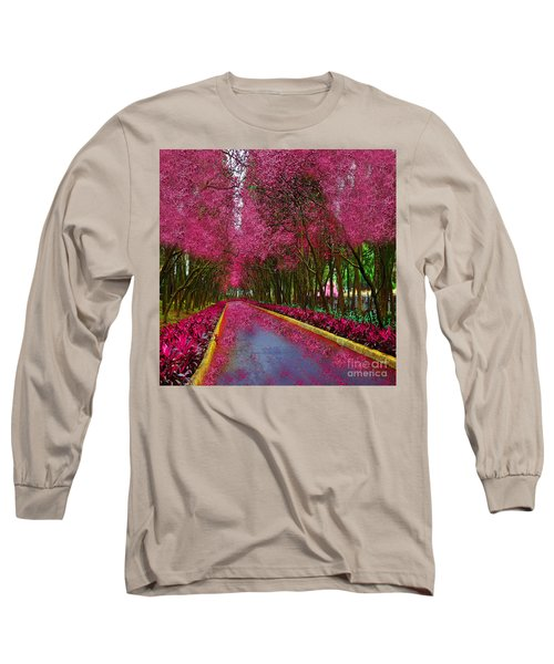 Spring Cherry Blossoms Long Sleeve T-Shirt by Saundra Myles
