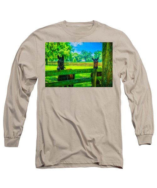 Long Sleeve T-Shirt featuring the painting Spring Colts by Louis Ferreira