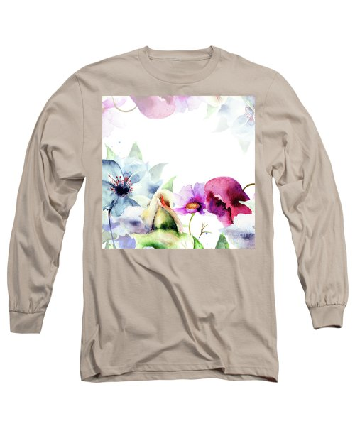 Spring Floral Background Long Sleeve T-Shirt