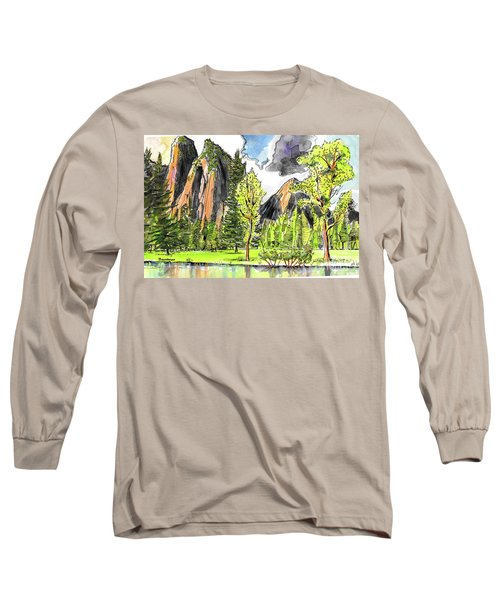 Long Sleeve T-Shirt featuring the painting Spring In Yosemite by Terry Banderas