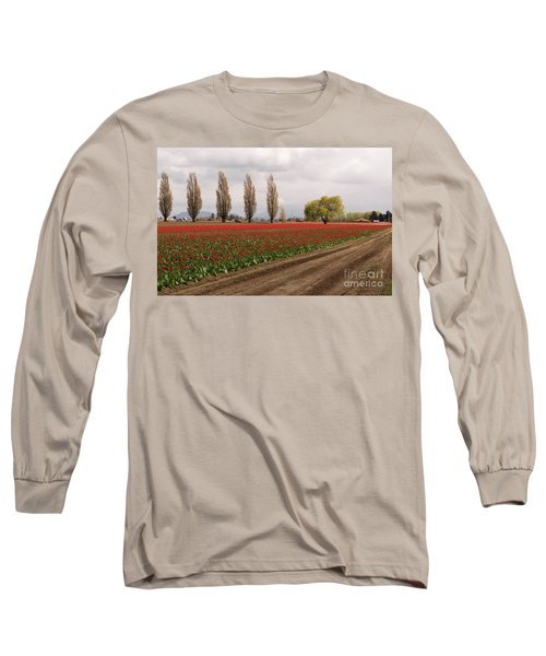 Spring Red Tulip Field Landscape Art Prints Long Sleeve T-Shirt