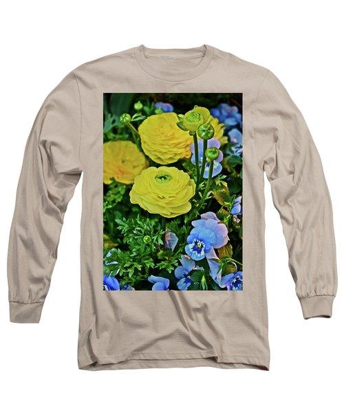 Spring Show 18 Persian Buttercup With Horned Viola Long Sleeve T-Shirt