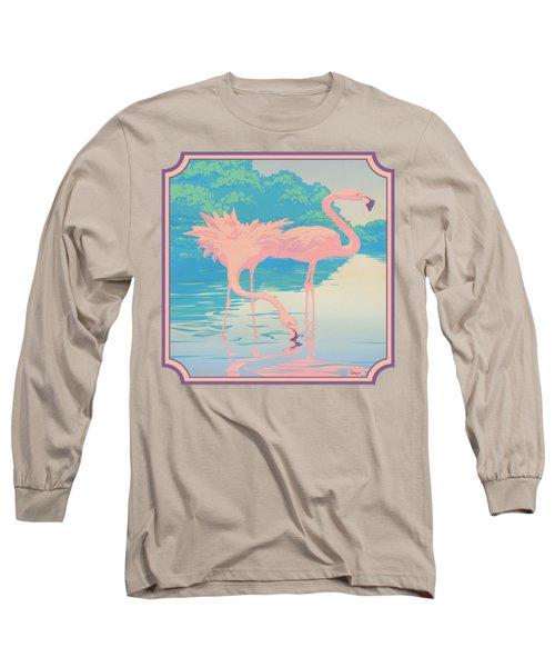 Square Format - Pink Flamingos Retro Pop Art Nouveau Tropical Bird 80s 1980s Florida Painting Print Long Sleeve T-Shirt