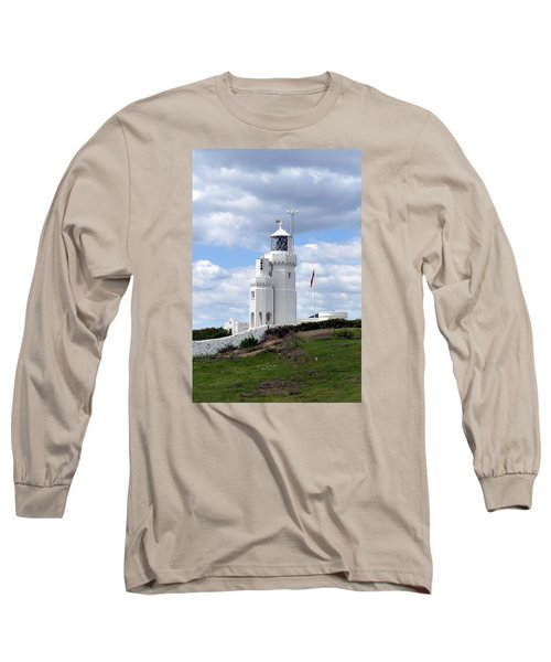 St. Catherine's Lighthouse On The Isle Of Wight Long Sleeve T-Shirt by Carla Parris