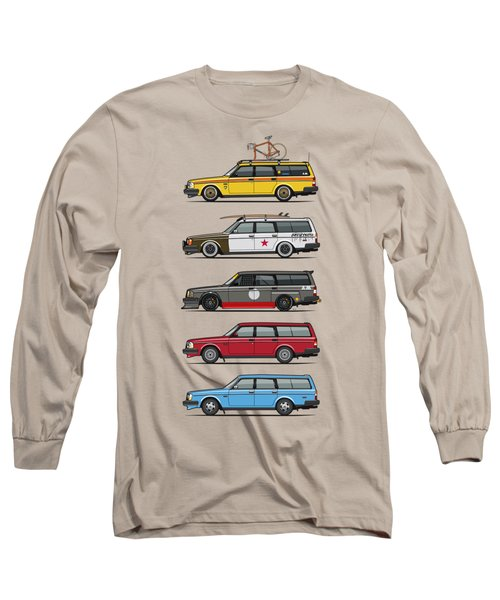 Stack Of Volvo 200 Series 245 Wagons Long Sleeve T-Shirt by Monkey Crisis On Mars
