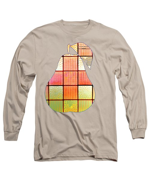 Long Sleeve T-Shirt featuring the digital art Stained Glass Pear by Rachel Hannah