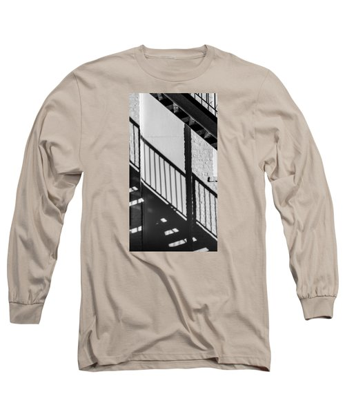 Stairs Railings And Shadows Long Sleeve T-Shirt by Gary Slawsky
