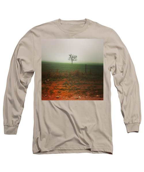Standing Alone, A Lone Tree In The Fog. Long Sleeve T-Shirt