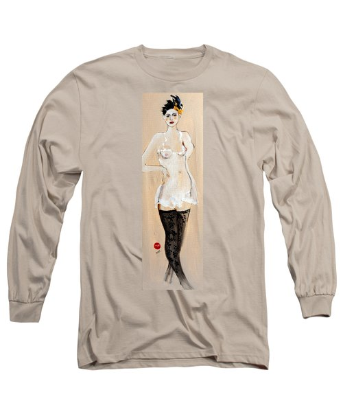Standing Nude In Black Stockings With Flower And Bird In Hair Long Sleeve T-Shirt