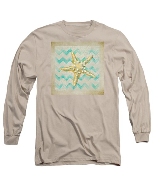 Starfish In Modern Waves Long Sleeve T-Shirt by Sandi OReilly