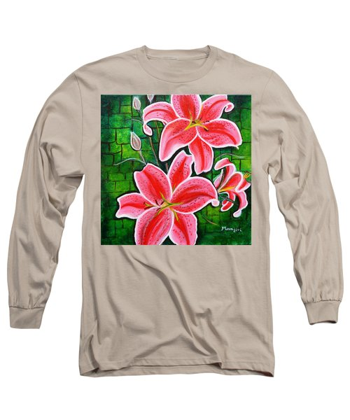 Stargazer Lilies Bold And Vibrant Floral Painting On Canvas Long Sleeve T-Shirt