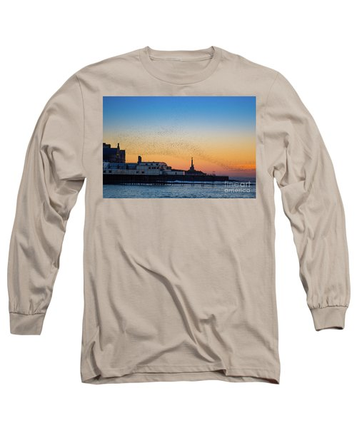 Starlings At Sunset In Aberystwyth Long Sleeve T-Shirt