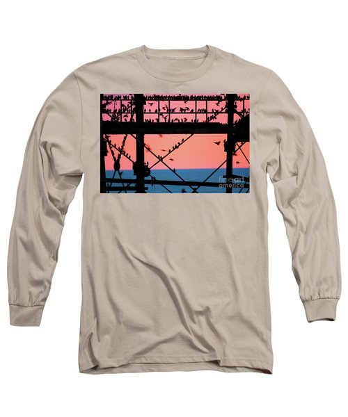 Starlings Under Aberystwyth Pier Long Sleeve T-Shirt