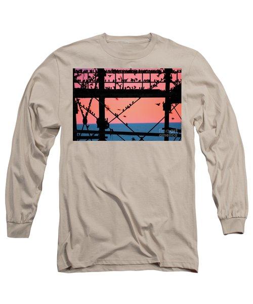 Starlings Under Aberystwyth Pier Long Sleeve T-Shirt