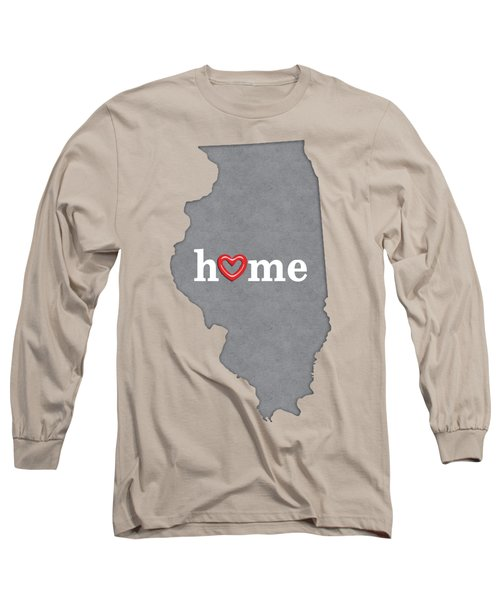 State Map Outline Illinois With Heart In Home Long Sleeve T-Shirt