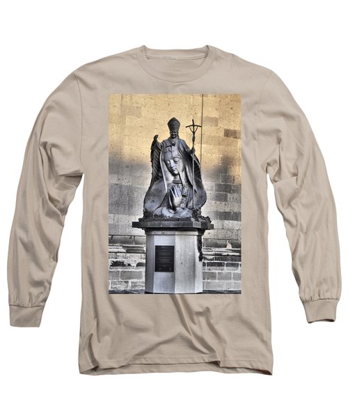 Long Sleeve T-Shirt featuring the photograph Statue Of Pope John Paul by Jim Walls PhotoArtist
